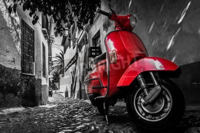 Image Rouges, vespa, scooter, garé, pavé, rue