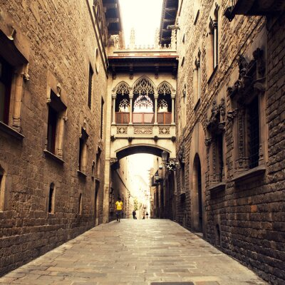 Image Rue gothique avec arc à Barcelone, près de la cathédrale.