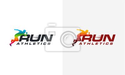 Running Man Silhouette Logo Designs Modele De Logo Marathon Peintures Murales Tableaux Sprinter Marathon Le Jogging Myloview Fr