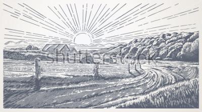 Image Rural landscape with village in engraving style. Vector Illustration.