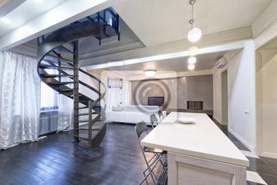 Image Russie, Moscou   Intérieur Moderne De Salon. Appartement Duplex Avec  Un élégant Escalier