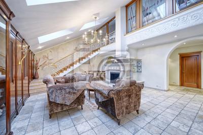 Russie Moscou Interieur Moderne Du Salon Duplex Avec Escalier
