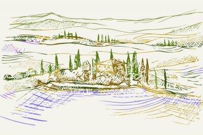 Image Rysynek ręcznie rysowany. Toskański pejzaż z okolic Sieny we Włoszech w Europie