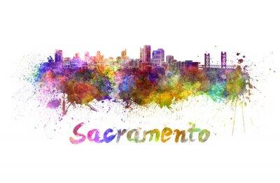 Image Sacramento horizon à l'aquarelle
