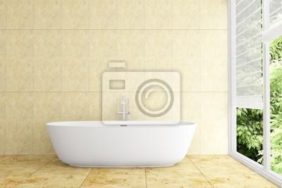 Image: Salle de bain moderne avec carrelage beige sur le mur et le plancher