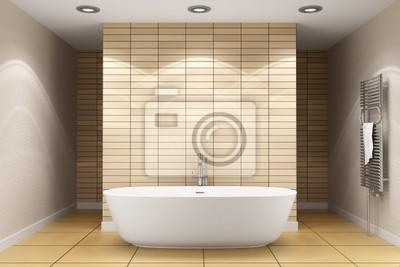 Salle de bain moderne avec carrelage beige sur le mur et le plancher ...