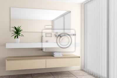 Salle de bains moderne avec mur beige peintures murales • tableaux ...
