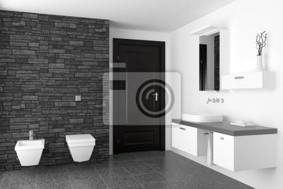 Image: Salle de bains moderne avec mur de pierre noire et de léquipement