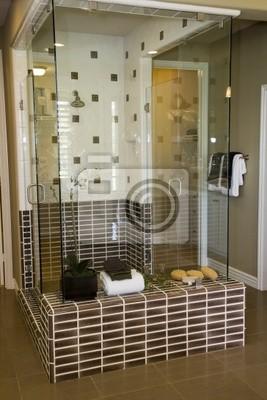 Salle de bains moderne avec une douche carrelée de luxe. peintures ...