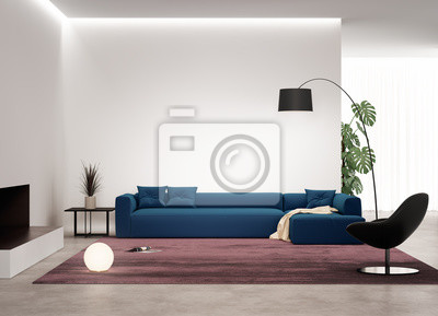 Image Salon Contemporain Avec Canapé Bleu