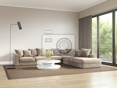 Image: Salon contemporain beige et gris