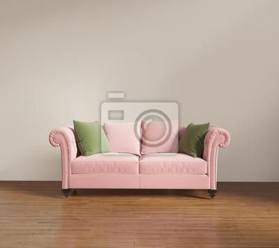 Salon Moderne Avec Canapé Rouge Saumon Peintures Murales Tableaux