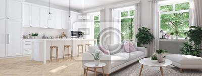 Image salon moderne dans maison de ville. Rendu 3D