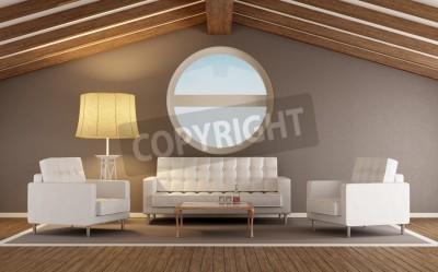 Salon moderne dans un grenier avec toit en bois et fenêtre ronde ...