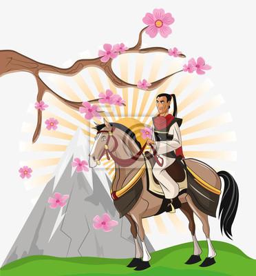 Samourai Et Icone De Dessin Anime De Cheval Japon Et Le Theme Peintures Murales Tableaux Escrimeur Bushido Ninja Myloview Fr