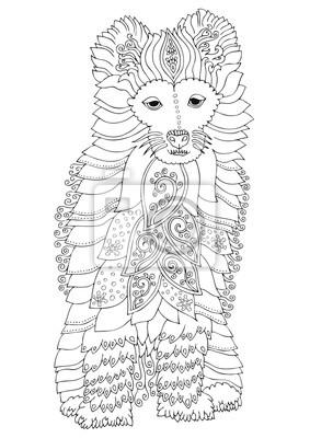 Coloriage Anti Stress Chien.Samoyede Chien Dessine A La Main Croquis Pour Livre De Coloriage