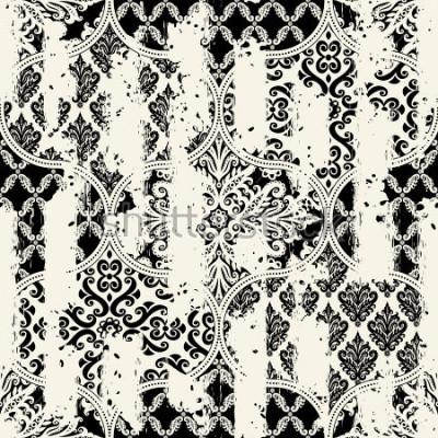 Image Sans couture modèle vintage avec un effet d'attrition. Tuiles patchwork.