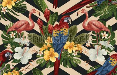 Image Sans soudure de fond tropical avec des fleurs tropicales, ara rouge écarlate et flamant. Illustration tropicale dans un style hawaïen vintage.