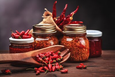 Image sauce chilli in glass