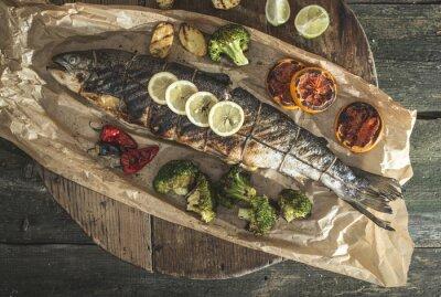 Image Saumon et légumes rôtis
