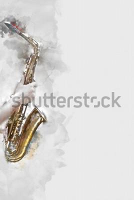 Image Saxophone abstrait au premier plan. Gros plan, peinture aquarelle jazz jouant du saxophone.