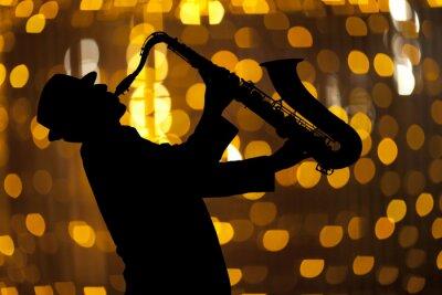 Image Saxophoniste. Homme, jouer, saxophone