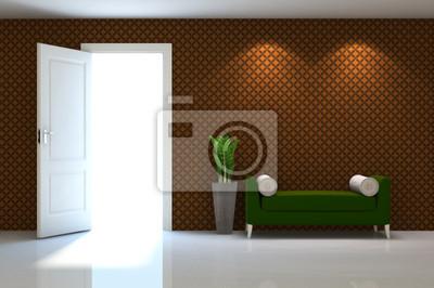 Image Scène 3d Intérieur Dun Canapé Vert Sur Le Mur Brun Classique