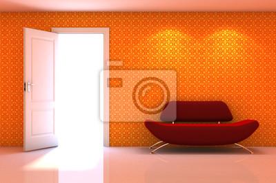 Image Scène Dintérieur 3d Dun Canapé Rouge Sur Le Mur Blanc Classique