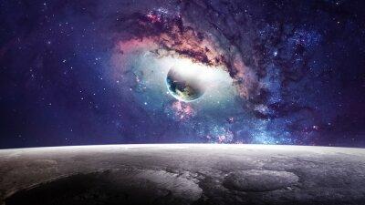 Image Scène d'univers avec des planètes, des étoiles et des galaxies dans l'espace extra-atmosphérique montrant la beauté de l'exploration spatiale. Éléments fournis par la NASA