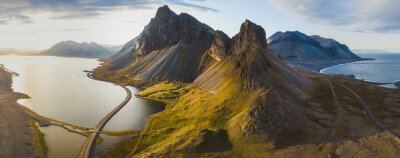 Image scenic road in Iceland, beautiful nature landscape aerial panorama, mountains and coast at sunset