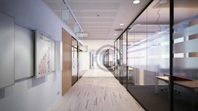 Schlichter couloir de bureau moderne salle de réunion peintures