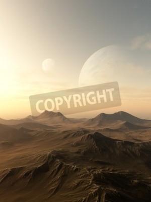 Image Science-fiction, Illustration, de, planètes, levée, sur, les, Horizon, désolé, étranger ...