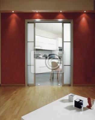 Scorcio della cucina con vista dal soggiorno pareti rosse peintures ...