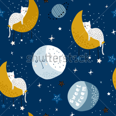 Image Seamless childish pattern with cats on moons and starry sky. Creative kids texture for fabric, wrapping, textile, wallpaper, apparel. Vector illustration