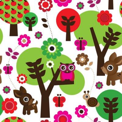 Image Seamless ferme d'arbre de hibou des animaux dans le vecteur