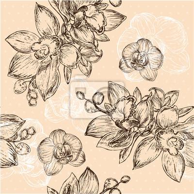 Image Seamless floral pattern orchidée