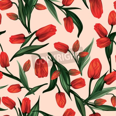 Image Seamless floral pattern with of red tulips