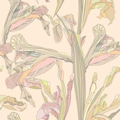 Image seamless fond doux fleurs d'iris sur fond beige