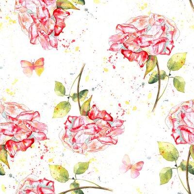 Image Seamless, fond, modèle, à, aquarelle, roses, éclaboussures, papillons