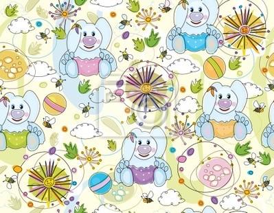 Seamless mignon de la flore et des lapins.