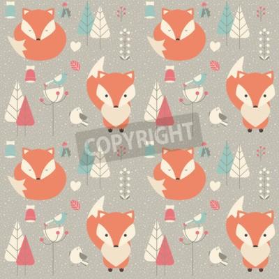 Image Seamless, modèle, à, mignon, noël, bébé, renard, entouré, à, floral, décoration, vecteur, Illustration