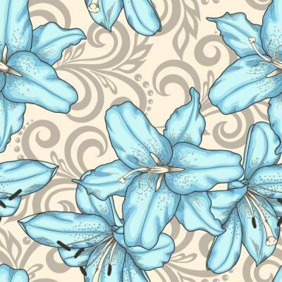 Image Seamless, modèle, bleu, lis, fleurs, résumé, floral, tourbillons