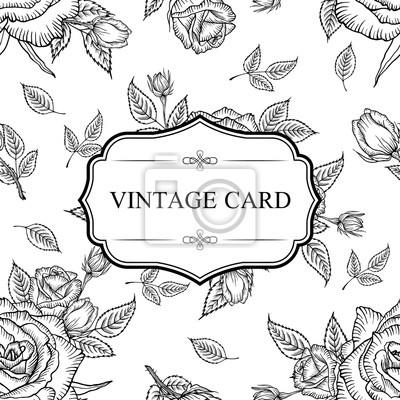 Seamless Modele Fleur Rose Vendange Etiquette Carte De Cadre Peintures Murales Tableaux Belle Minable Imprimer Myloview Fr