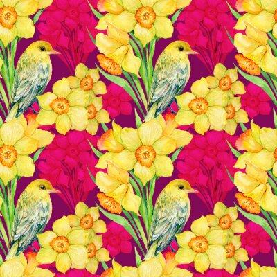 Image Seamless, modèle .Illustration, aquarelle, fleurs, wildflowers, narcisse, Oriole, Oriole
