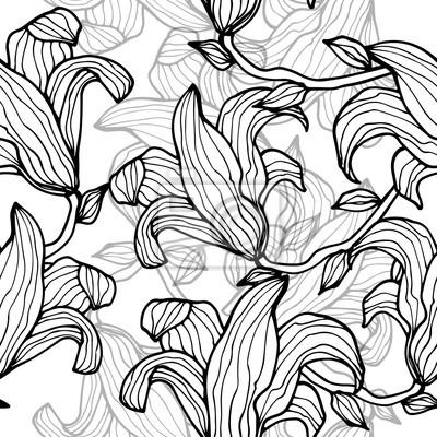 Seamless, modèle, lis, fleurs, monochrome