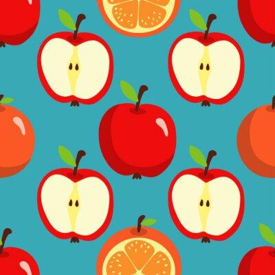 Seamless, modèle, oranges, pommes