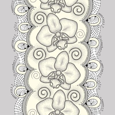 Image Seamless, modèle, pointillé, traînée, orchidée, ou, Phalaenopsis, tourbillons, décoratif, dentelle, lumière ... Fond floral dans le style de pointwork.
