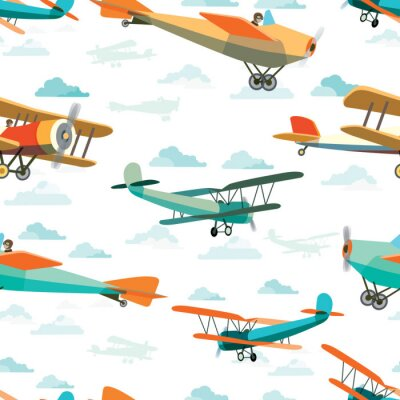 Image Seamless, modèle, retro, avions