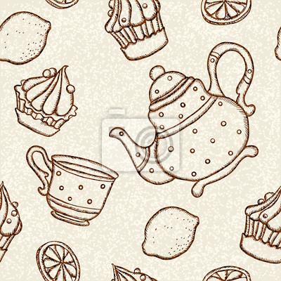Seamless, modèle, tasses, théières, gâteaux, citrons
