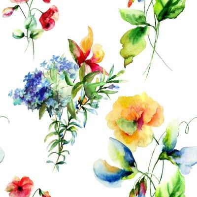 Image Seamless pattern avec des fleurs décoratives d'été